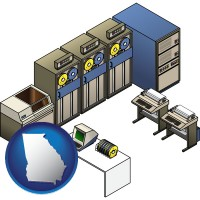 georgia map icon and a 20th century mainframe computer used for data processing