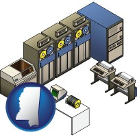 mississippi map icon and a 20th century mainframe computer used for data processing