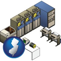 new-jersey map icon and a 20th century mainframe computer used for data processing