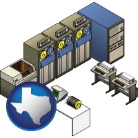 texas map icon and a 20th century mainframe computer used for data processing